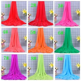 Wholesale Plus Size Towels - Women Scarf candy color plus size Sunscreen Beach Towel Scarf Women Shawl Sarong Scarf chiffon beach towel 24 color LJJK721