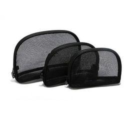 Wholesale Transparent Nylon Bags - Hot sale 2017 Large Medium Small Fashion Black Cosmetic Bag Transparent Bud silk Storage Bag Travel Bag Organizer Makeup Toiletries Bags