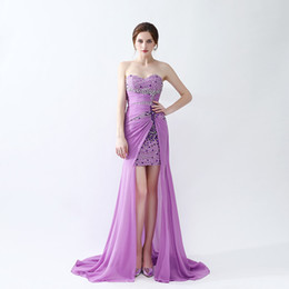 Wholesale Simple Elegant Formal Gowns - Free Shipping High Neck Prom Dresses Sweetheart Neck Crystal Sweep Train Formal Evening Gowns Elegant Party Dress
