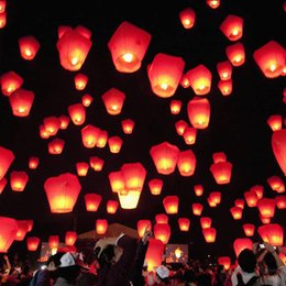 Wholesale Chinese Paper Wish Lanterns - Flying Lantern Kongming lantern Praying Wishing Lamp Kongming lantern Chinese paper scaldfish Birthday Wedding Party Assorted Colors