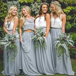 Wholesale Fairy Style Dresses - Hot 2017 Spring Summer Bohemian Fairy Bridesmaid Dresses Two Pieces Chiffon V Neck Loose Style Maid of Honor Gowns for Garden Weddings