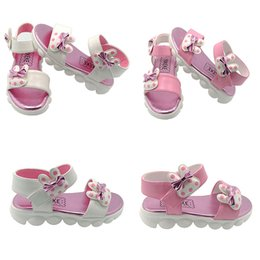 Wholesale Wholesale Shoes Ankle Straps - Girls Sandals Bowknot YXKEKE Brand PU Leather Round Toe Kids Shoes for Girls White and Pink