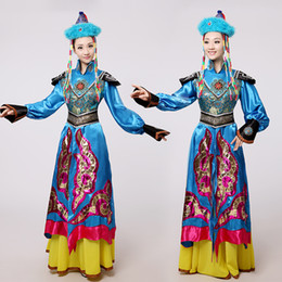 Wholesale Chinese Folk Dance Costumes - New women ethnic clothing Blue Mongolian costume dance clothes Ancient princess dress stage performance clothing Chinese folk dance costume