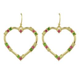 Wholesale Blue Color Rhinestone Earrings - Gold-Color with Colorful White Blue Rhinestone Party Earrings Heart Drop Earrings for Women
