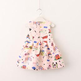 Wholesale Graffiti Dresses Wholesale - Everweekend Kids Girls Print Rainbow Graffiti Sleeveless Sweet Baby Princess Party Suspender Dress New Autumn Dress Clothing