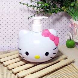 Wholesale Jars Pink Color - Wholesale- hello kitty cute storage bottles & jars Take the shape of a cat color is pink circular 350ml bottles
