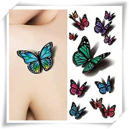 Wholesale Fly Sheets - 3D Sexy Multicolor Butterfly Tattoo Decals Body Art Decal Flying Butterfly Waterproof Paper Temporary Tattoo Sticker 1 Sheets