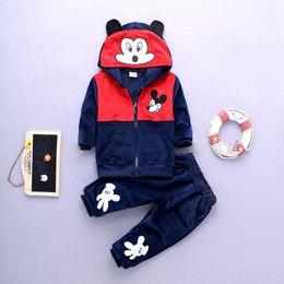 Wholesale Mouse Boys - New Kids Clothes Winter Spring kids boys hoodies+pants set 2 pieces,lovely mouse monkey long sleeve velvet clothes suit clothing