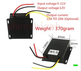 Wholesale 5v 12v Converter 1a - 5V-11V TO 12V 1A-20A power converter DC-DC step-up DC booster power adaper with iron box Free DHL shipping