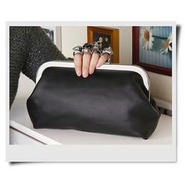 Wholesale Crossbody Bags Skulls - Wholesale-New Arrival Women's Handbag Black Skull Gem Ring Knuckle bag Purse Crossbody Bag with Chain