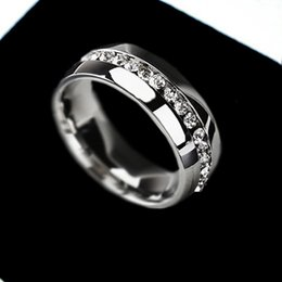 Wholesale Eternity Ring Stainless - Wedding Ring For women Fashion Jewelry Gold Silver Crystal Cubic Zirconia Eternity 316L Stainless Steel Rings Free Shipping L419