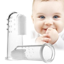 Wholesale Clean Baby Teeth - Teeth Soft Rubber Brush Silicone Finger Toothbrush Massager For Baby Infant Cleaning Toothbrush Training Brush OOA2905