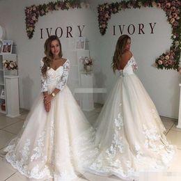 Wholesale Vintage Ivory Lace Maxi Dress - Modest Plus Size Wedding Dresses With Illusion Sleeve 2017 Vintage Open Back Maxi Big Sizes Weddings Gowns Lace Women Bridal Dress Appliqued