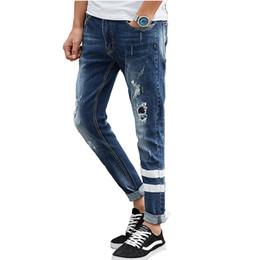 Wholesale Crop Pants For Men - Wholesale- Men's Cropped Jeans Korean Style Ripped Broken Slim Fit Striped Pencils Pants Light Blue Hip Hop Clothing For Men Biker Jeans