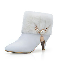 Wholesale Stiletto Heel Fur Boots - Rabbit fur genuine leather womens boots shoes white med high heels pearls luxury lady wedding party winter ankle boots