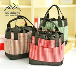 Wholesale Insulated Case - Wholesale- Insulated Cold Oxford cloth Stripe Picnic Totes Carry Case Hot Sale Thermal Portable Picnic Bag for Outdoor Travel