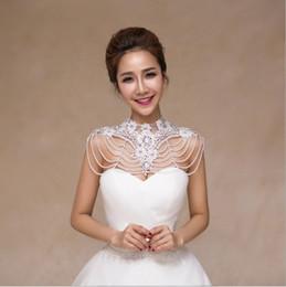 Wholesale Big Round Diamond Necklace - The bride wedding dress Korean jewelry chain shoulder shoulder big white bag shoulder Lace Shawl pearl necklace word