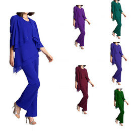 Wholesale Detailed Formal Dresses - Multi Color Purple Royal Blue Mother Of The Bride Groom Pant Suits Summer Women Formal dresses Scoop Neck flutter sleeve Crystal details