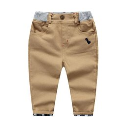 Wholesale Leather Pants For Children - 2017 fall boys pants Korea cotton twill casual pant for boy Plaid leather contrast Children kids baby clothing wholesale knitted waistband