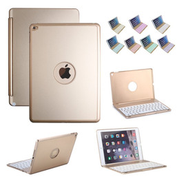 Wholesale Case Keyboard Ipad Alloy - Bluetooth Backlit Keyboard case for iPad Air 2, 7 Backlight Color Wireless Rechargeable Tablet Protective Aluminum Alloy Cover Slamshell