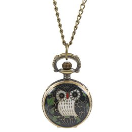 Wholesale W Watches - Wholesale-1PC Necklace Chain Pocket Watch Black Oval W Battery Bronze Tone B31972 Over $120 Free Express
