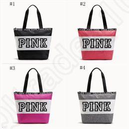 Wholesale Pink Shopping - Pink Letter Handbags Women Waterproof Shopping Bags Messenger Bags Shoulder bag Large Capacity Striped Travel Duffle Beach Bag OOA1056