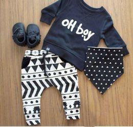 Wholesale Zebra Newborn Baby Clothes - 2017 Autumn baby boy clothes set fashion cotton long-sleeved letter oh boy T-shirt+ trousers 2pcs newborn baby boy clothing set