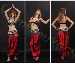 Wholesale Latin Pants - shell bar belt Lantern pants set Belly Dance dress Sexy Dancer performance Costume Set modal Jazz Latin dance Clothes training Suit