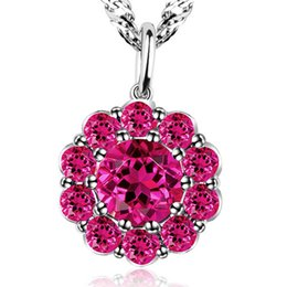 Wholesale Creating Flowers - Women's Fashion Flower Created Ruby 925 Sterling Silver Pendant Necklace Silver Clavicle Necklace 15.74inch,17.71inch Necklace Chain