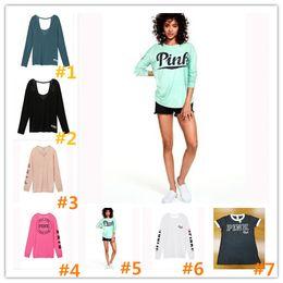 Wholesale Long Sleeves Yellow Shirt Women - New Women Hoodies Printed Hoodie love pink Sweatshirts Spring summer T-shirt sweatshirts vest camis Fashion pullover Female Tracksuit