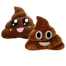 Wholesale Cushion Dolls - Emoji Emoticon Cushion Poo Shape Pillow Doll Plush Toy Smiley Emoticon Cushion Throw Pillow Poop Face 25cm 20cm