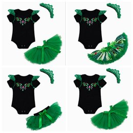 babies tutu rompers Canada - st patricks day kids summer clothes boutique clothing sets baby black rompers + ruffle tutu skirts green + lace headband girl 3 piece outfit