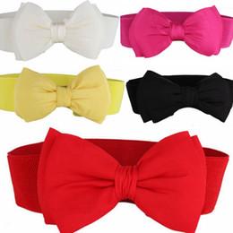 Wholesale elastic stretch bows - Hot Sale Fashion Women Lady Bowknot Stretch Elastic Bow Wide Stretch Buckle Waistband Waist Belt