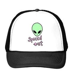 Wholesale Aliens Drop Ship - Wholesale- alien spaced out Print Baseball Cap Trucker Hat For Women Men Unisex Mesh Adjustable Size Tumblr Drop Ship M-123