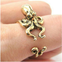 Wholesale Jewlery Silver Rings - New Punk Style Fuuny Adjustable Octopus Ring, 3D Animal Rings Antique Silver Bronze Punk Retro Style For Men Women Party Jewlery