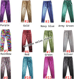 Wholesale Shiny Cotton Leggings - INS Children SCALE LEGGINGS Mermaid panty printing leggings scale Summer style girl's mermaid leggings fish scale shiny pants 12colors