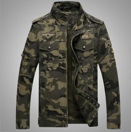 Wholesale Green Overcoat For Men - Military Style Jackets for Men Slim Fit Jackets Spring Coats Autumn Overcoat Camouflage Tops Good Quality Plus Size Army Green