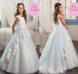 Wholesale Girls Ball Gown Tone - Beautiful Two Tone Flower Girls Dresses Lace Appliques 2017 Princess A Line Cap Sleeves Jewel Neck Long Girls Pageant Formal Party Gowns