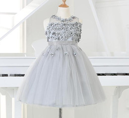 length chiffon sleeve wedding dress prices - 2017 Silver tulle Princess Girl Party Dresses Bead Appliques Tutu Wedding Dress for Christmas Kids Birthday clothes 12M-12Y