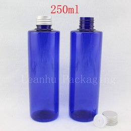 2019 botellas de champú de aluminio al por mayor botellas al por mayor de la loción vacía coloreadas azul 250ml con la tapa del tornillo de aluminio, botellas cosméticas del envase del champú del jabón líquido 250cc rebajas botellas de champú de aluminio al por mayor