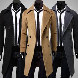 Wholesale Double Breasted Woolen Coat - Wholesale- New Men Outwear Slim Stylish Trench Coat Winter Long Jacket Double Breasted Overcoat Woolen Coat