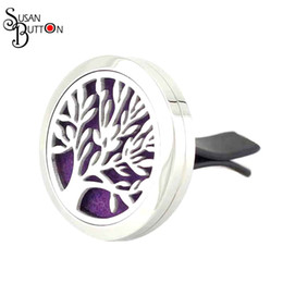 Wholesale Necklace Pendant Clip - 10pcs lots 316L Stainless Steel Diffuser Locket 30mm Round Tree Of Life Aromatherapy Essential Oil Perfume Clip Car Locket Jewelry SJSB4006
