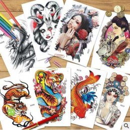 Wholesale Cartoon Temporary Tattoos - Cartoon 3D Skull Flower Waterproof Temporary Tattoos Arm Dreamcatcher Flash Tattoo Stickers Body Art for Men Women Transferable Fake Tattoo
