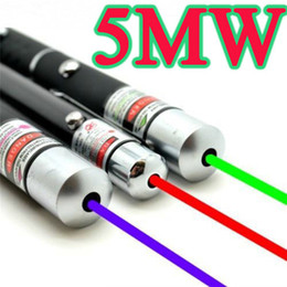 Wholesale Green Laser Pointer 5mw Wholesale - Powerful Green Red Blue Laser Pointer Pen Beam Light 5mW Professional Military High Power Presenter lazer