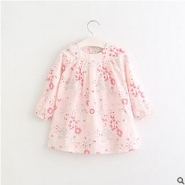 Wholesale American Girl Dolls Clothes - Girls dress shirt 2017 spring children flowers doll princess tops kids long sleeve round collar printed dress shirt children clothes T1353