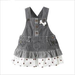 enfants jeans filles ans Promotion En gros Filles Jeans Jupe Fille Denim Jupe 1-4 ans enfants Robes Bretelles jupe bébé filles vêtements d'été pour les filles LA384