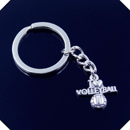 Wholesale I Love Pink Girls - new-fashion-men-30mm-keychain-DIY-metal-holder-chain-vintage-i-love-volleyball-21-20mm-antique silver key rings