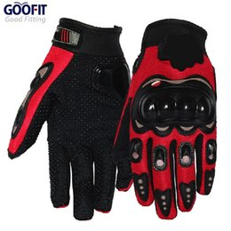 Wholesale Red Bicycle Fabric - Wholesale- GOOFIT Full Finger Red Sports Motorcycle Gloves Bicycle Breathable Mesh Fabric Slip Motorbike Racing motocross leather MCS-01D