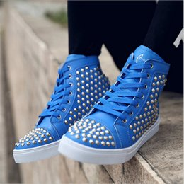 Wholesale Cheap Casual Boots For Men - Cheap white bottom sneakers for men with Spikes black suede fashion casual mens shoes Motorcycle boots men leisure trainer footwear