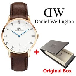 Wholesale Roman Bronze - A piece lots Mens Daniel watches luxury brand Roman date business men watch leather strap male clock brown waterproof Montre Femme Relogio